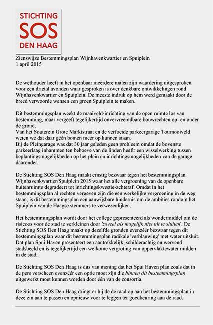 Zienswijze best plan Wijnhaven Spuiplein SOSDenHaag 150401